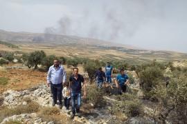 ندلاع حريق في منطقة الشامي ومنطقة الفرن (الأراضي بين بلدتنا قصرة وقرية مجدل بني فاضل المجاورة)